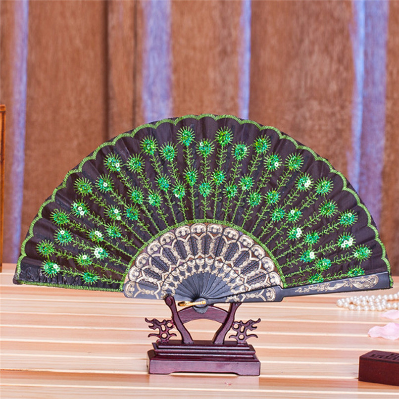 1PC Hand Fans Folding Peacock Pattern Embroidered Sequin Hand Held Chinese Fan Wedding Favors and Gifts abanicos de mano J14#3 (15)