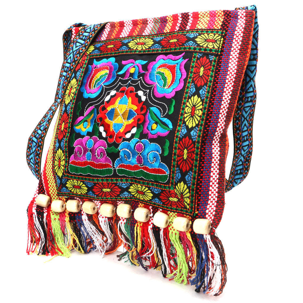 Hmong Vintage Chinese National Style Ethnic Shoulder Bag Embroidery Boho Hippie Tassel Tote Messenger Cosmetic Bags
