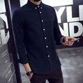 2016 Nueva Camisa Masculina Slim Fit Camisa de Los Hombres Vestido Largo Camisa de manga Hombres Tuxedo Shirts Ropa Talla M-4XL 5XL # dj533t