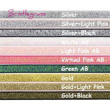 BRISTLEGRASS 5 Yard 3/8 10mm Metallic Glitter Elastics Spandex Satin Band Shoulder Bra Strap Lingerie Headband Lace Trim Sewing