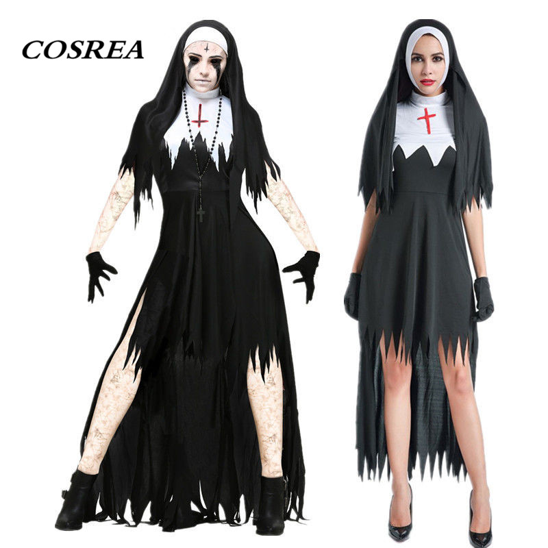 COSREA Virgin Mary The Nun Cosplay Costume Fancy Sexy Black Long Dress Scarist Ghoulish Witch Vampire Halloween Party For Women