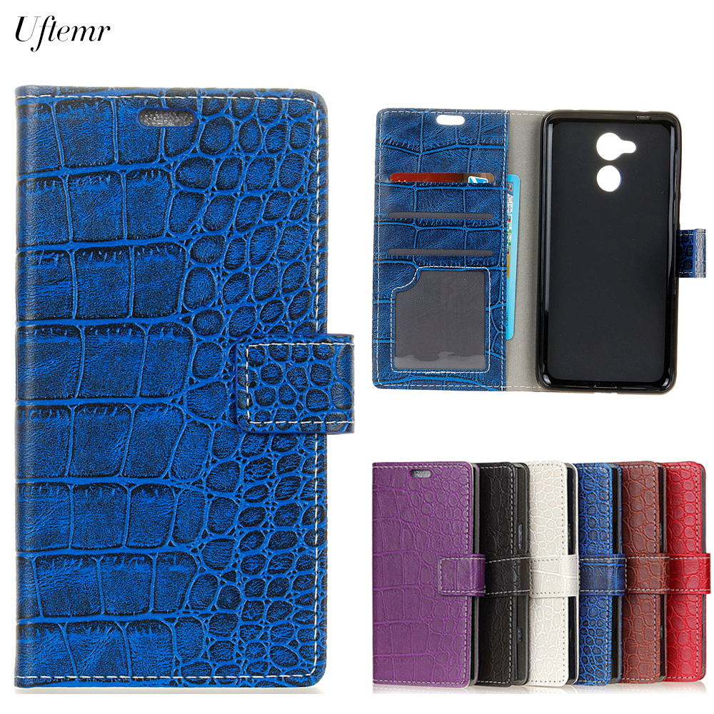 Uftemr Vintage Crocodile PU Leather Cover Silicone Case For Huawei Honor 6A Wallet Card Slot Phone Acessories
