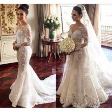 ELNORBRIDAL Luxury Mermaid Lace Wedding Long Sleeve Dresses