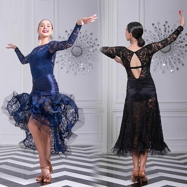 Nero vestito da ballo donna sala da ballo valzer abiti da ballo abiti da  ballo moderni cfdde66b5a1