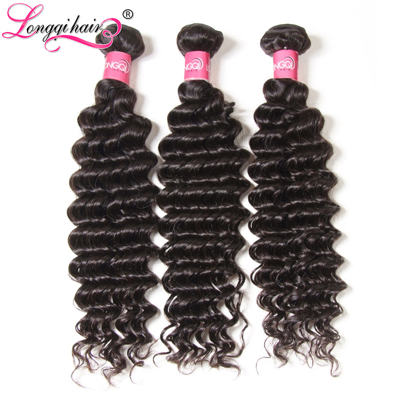 Longqi Hair Deep Wave Bundles 3pcs lot Brazilian Hair Weave Bundles Natural Color Remy Human Hair