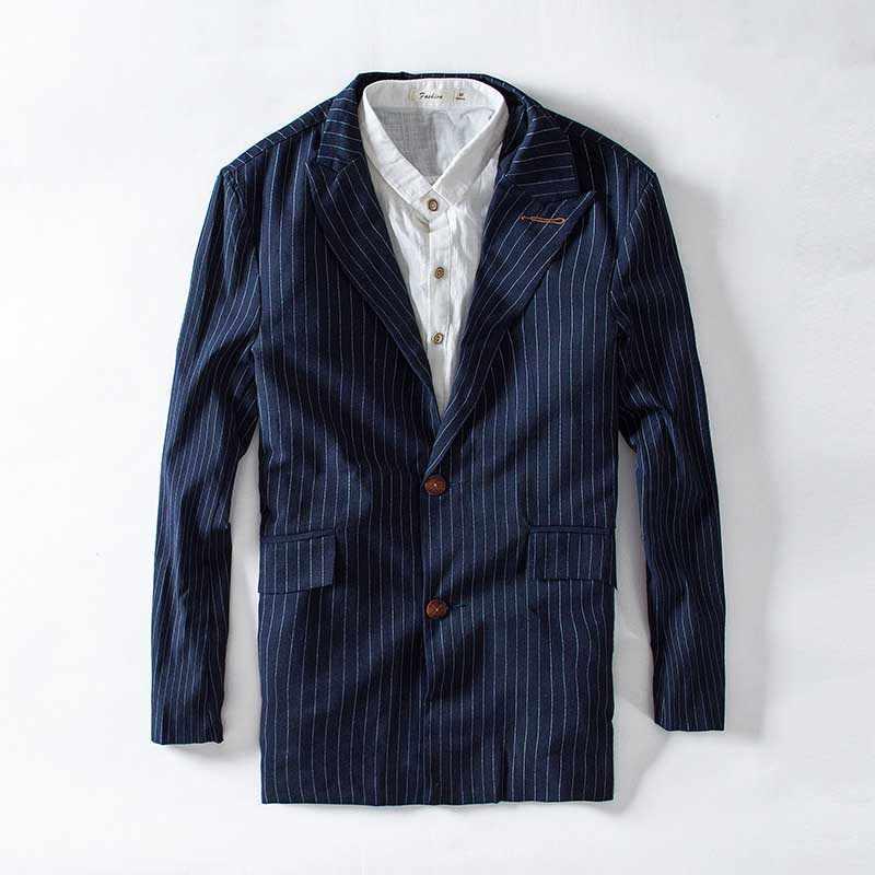 春夏コットンスーツブレザーストライプスーツのジャケットの男性カジュアルなリネンのスーツジャケット海軍生き抜くカーディガン男性服