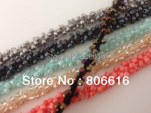 5MM/w (Plz choose 1 color) 10Yards Handmade Czech Glass Seed Beads Ropes Wires Strings Jewellery Cords