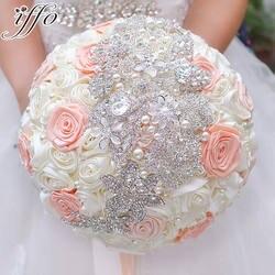 Цвета слоновой кости и коралловый лента розы свадебный брошь букет невесты Свадебные невесты с цветами в руках жемчугом букеты