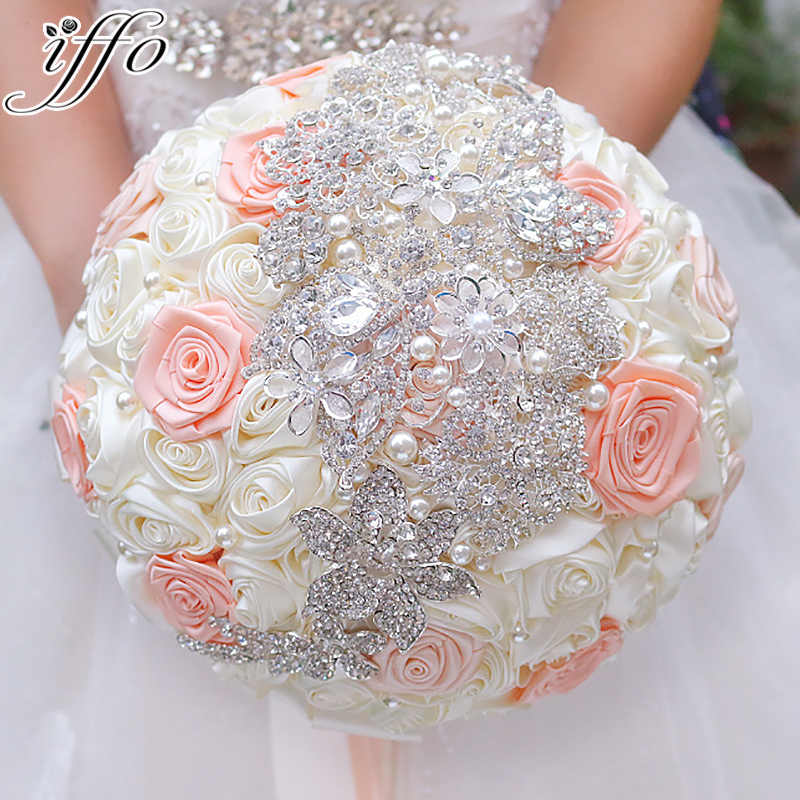 Ivory Coral Ribbon Roses Bridal Brooch Bouquet Wedding