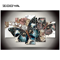 ZOOYA Diamond Embroidery Butterfly Flower 5 Pcs Diamond Painting Cross Stitch Full Rhinestone Mosaic Multi Picture