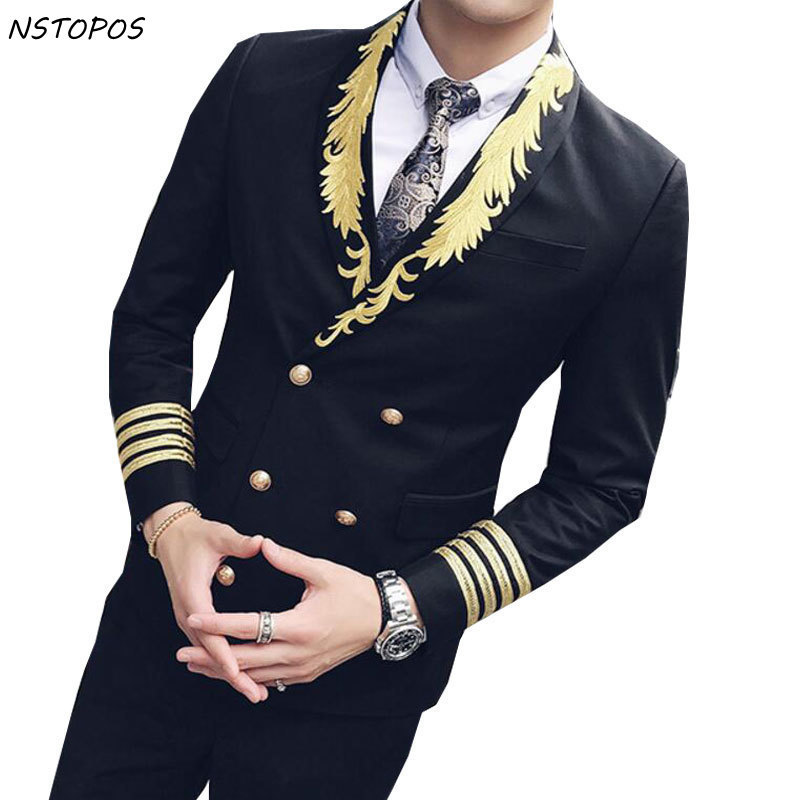 Gold Suits For Men 2017 Autumn Winter Dress Smoking Masculino Double Breasted Embroidery Wedding Suit Stage Singer Cloth 3xl
