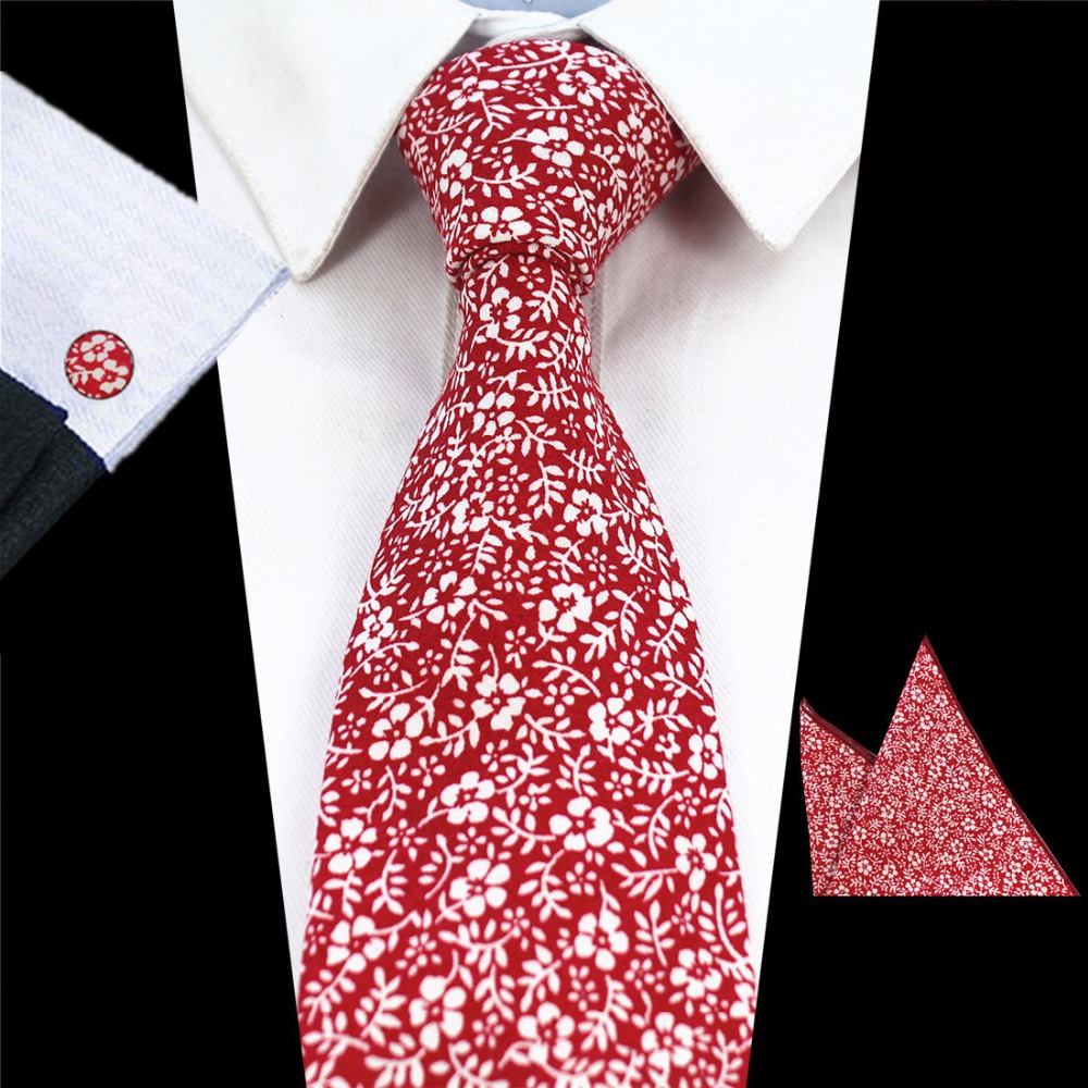 Ricnais Mens 8cm Tie 100% Cotton Floral Ties Pocket Square Cufflinks Sets Hanky For Formal Wedding Business Party Handkerchief