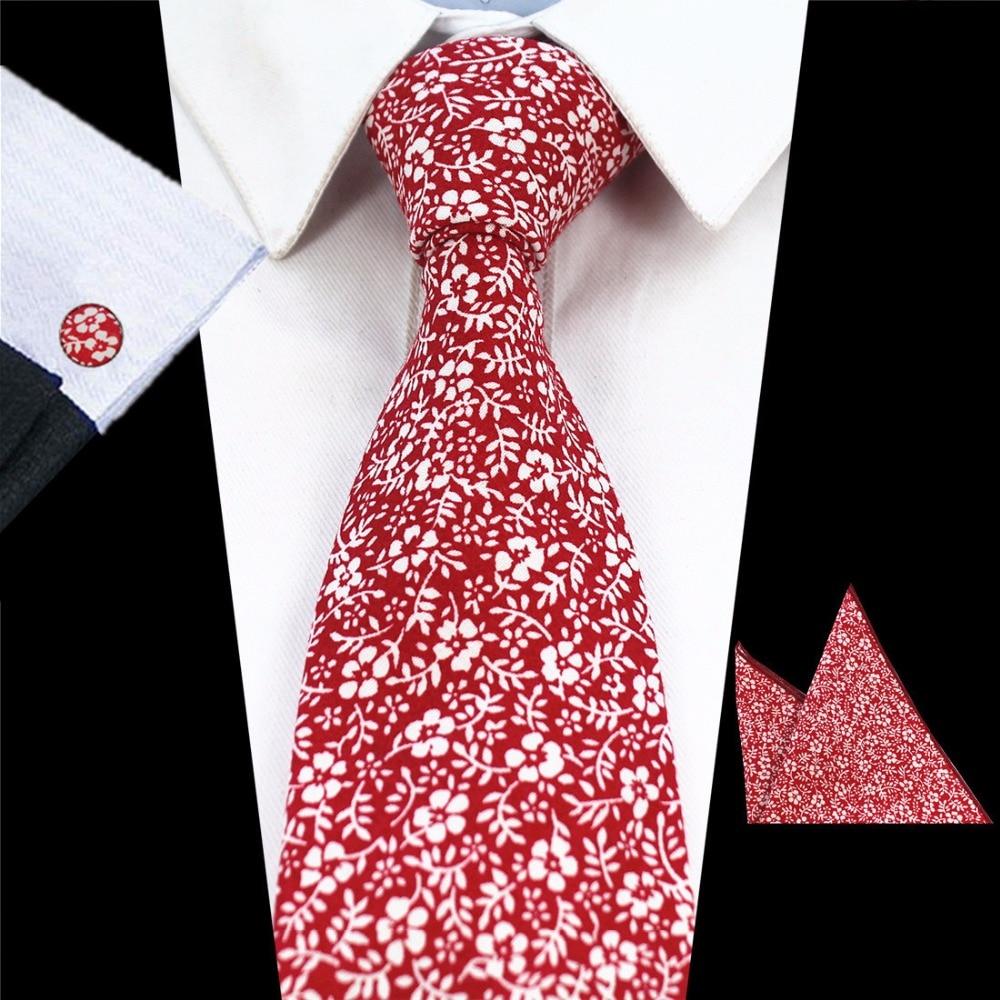 Ricnais Mens 8cm Tie 100% Βαμβάκι Floral Γραβάτες Pocket τετράγωνο Μανικετόκουμπα Σετ Hanky Για Τυπικό Γάμος Business Party Μαντήλι