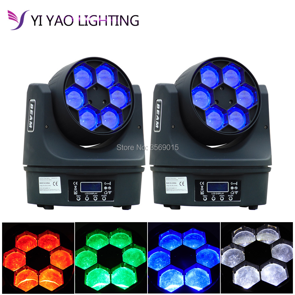 2pcs/lot Mini LED Bee Eyes 6X15W Moving Head Light Super Beam RGBW 4IN1  Stage DJ Disco