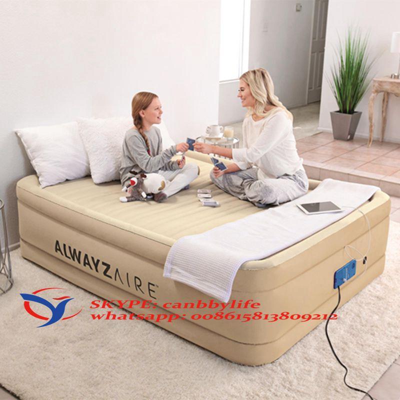 Queen Inflatable Airbed Mattress-Colchon Cama Inflable De Aire Dormir Viajar New