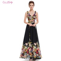 Summer Dresses Sexy Double V-neck Sexy Sleeveless Black Long Flower Print Chiffon Evening Dress 2017 EP09016BP Empire Waist