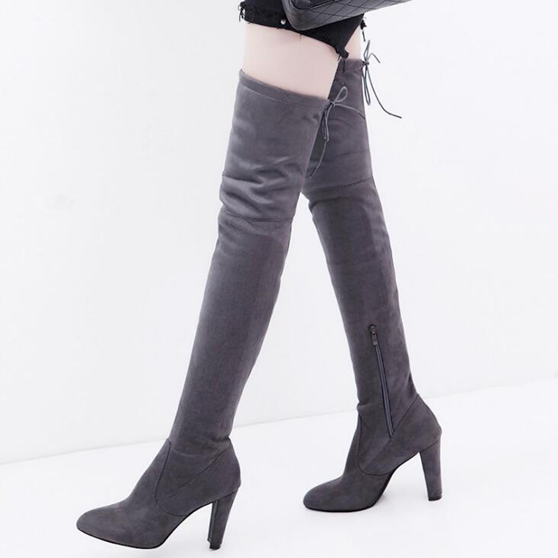 Women high boots 2018 fashion flock over the knee boots square heel non-slip women snow boots plus size 34-43 2016 fashion gray flock winter long boots elegant women shoes square low heel over the knee boots women boot size 34 43 concise page 4