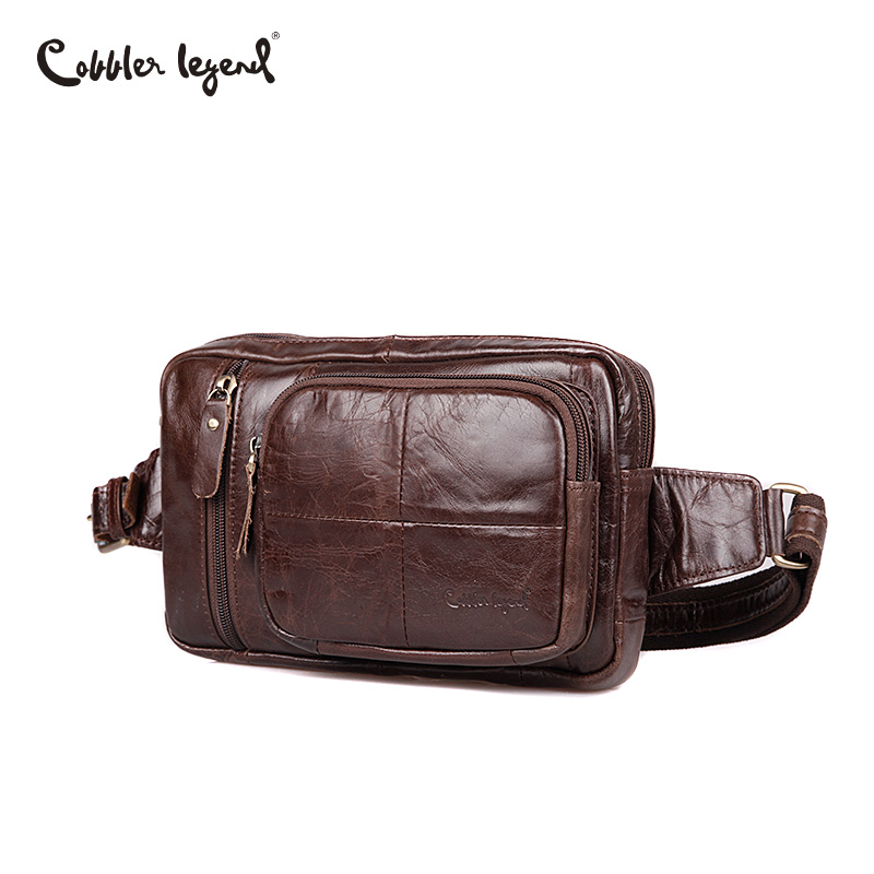 Cobbler Legend mode hommes sacs en cuir véritable homme sac Zipper taille Pack hommes Messenger sacs petit sac à bandoulière