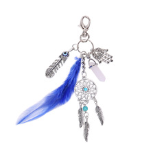 European And American Foreign Trade Explosion Of Bohemia Wind Keychain Feather Palm Fringed Turquoise A Dreamcatcher Key Buckle