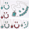 Vintage Silver Plated Jewelry Sets Women Natural Turquoise Necklace Bracelet Earrings Wedding Party Valentines Gift