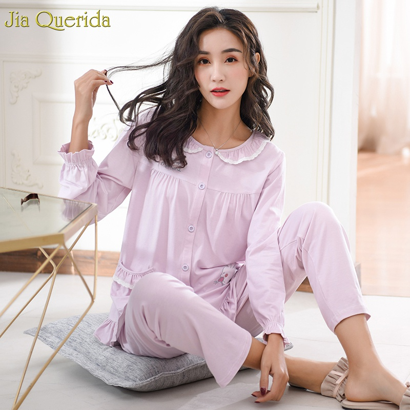 Elegant Pyjamas Women 100% Cotton Home Clothes Cardigan Button Lace Trim Collar Cute Rabbit Stitch Ruffle Sleeves Women Pajamas