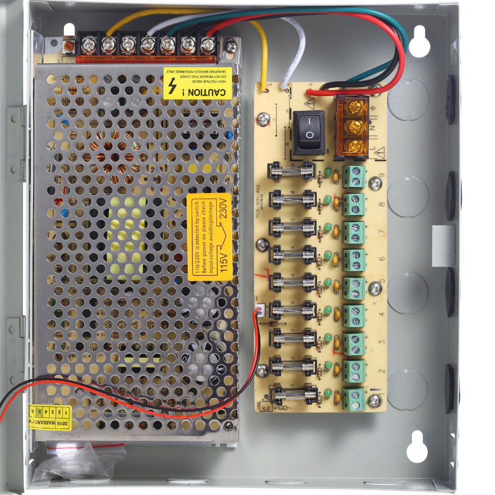 9 Channel Port Power Supply Box CCTV Camera Distribution PTC Fuse 12VDC 15A