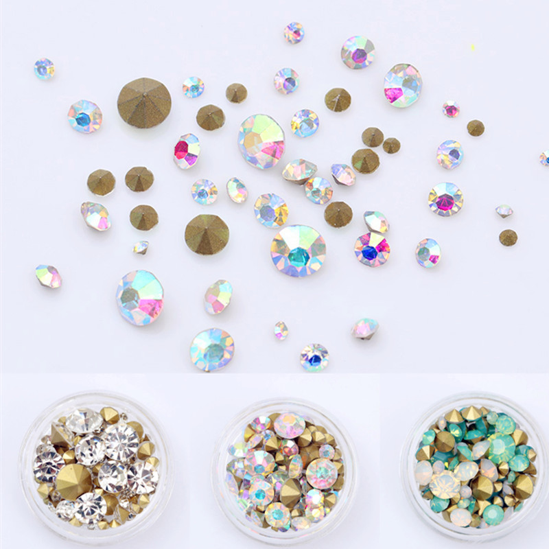 1Box 3.5g Colorful Holo Sharp Bottom Rhinestone 3D Nail Decoration  Multi-size Shining Manicure Nail Art Decoration 12 Colors 4 6 waterdrop shape 3d nail art sharp bottom glass rhinestone nail tip decoration phone decor accessories 10pc