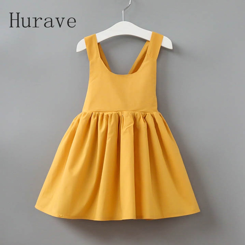 Hurave 2017 new girls dress kids clothes robe fille with bow children vestidos cute girl clothing