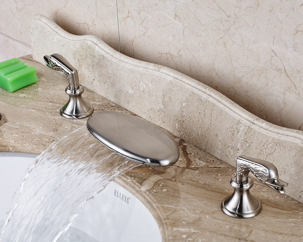 Waterfall Spout Bathroom Sink Faucet With Double Handles Nickel Brushed Finished waterfall spout bathroom sink faucet with double handles nickel brushed finished