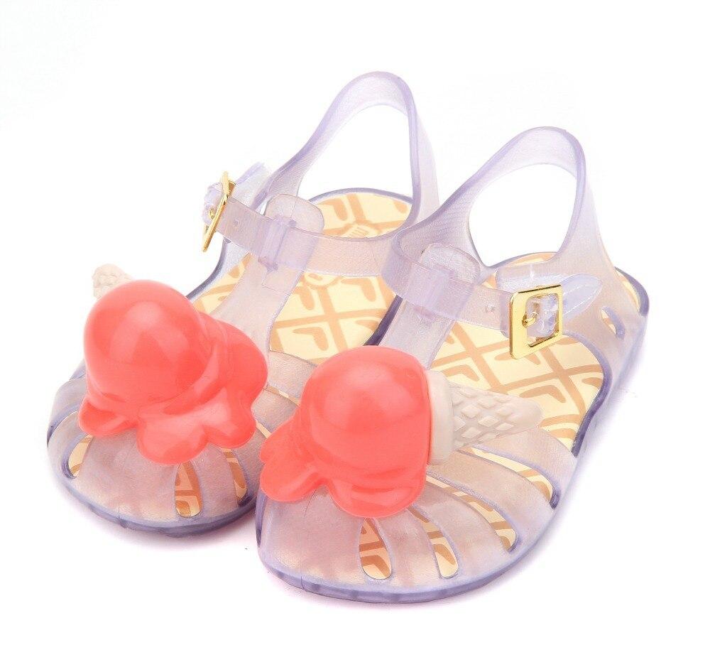 Hot 2018 Mini Melissa Ice Cream Girl Sandals Summer Sandals Rain Shoes Melissa Sandals Breathable Soft Children Sandals Lovely