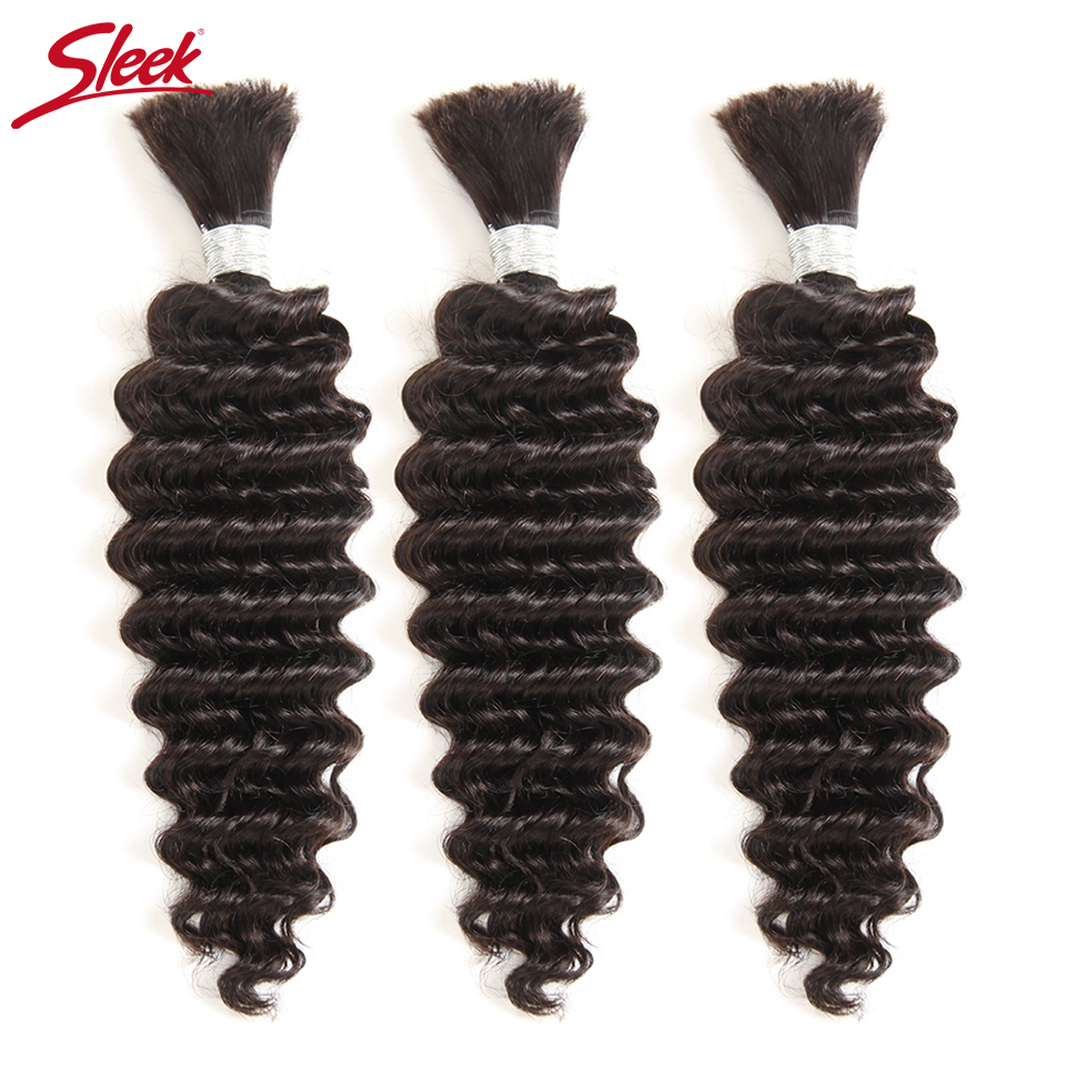 Sleek Pre-Colored Brazilian Deep Wave 3 PCS Human Hair Braiding Bulk No Weft 10 To 30 Inch Remy Bulk Human Hair Free Shipping