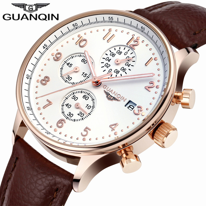 ФОТО 2017 Original Brand GUANQIN Men's Wrist Watches Quartz Watch Men Multifunction Chronograph Calendar Luminous Month Leather Clock