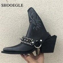 Schuhe Leder Stickerei Cowboy