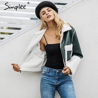 Simplee Fake lamb fur coats women Turn down pocket fur jacket female furry leather jacket winter 2017 Army green casual overcoat