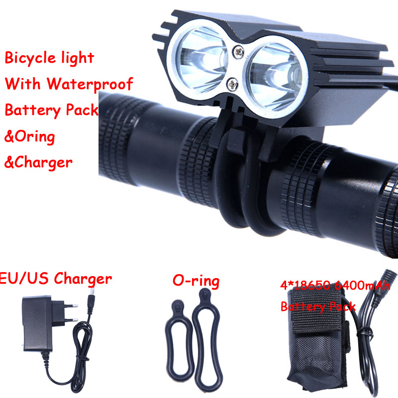 3000 Lumens 2 in 1 Headlight XM-L T6 LED Bicycle Light Bike Light Lamp + Battery Pack & Charger Free Shipping
