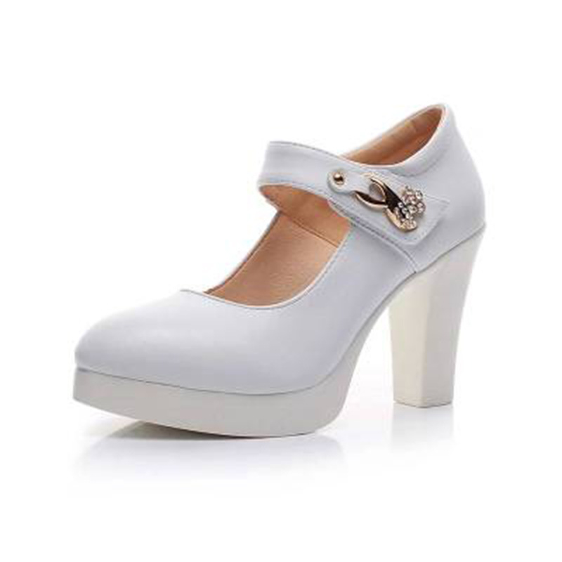 Women's Genuine Leather Shoes with Heels 2019 Spring ankle Strap Pumps Women Medium Heel Wedding shoes Woman Big size 41 43-in Women's Pumps from Shoes    2