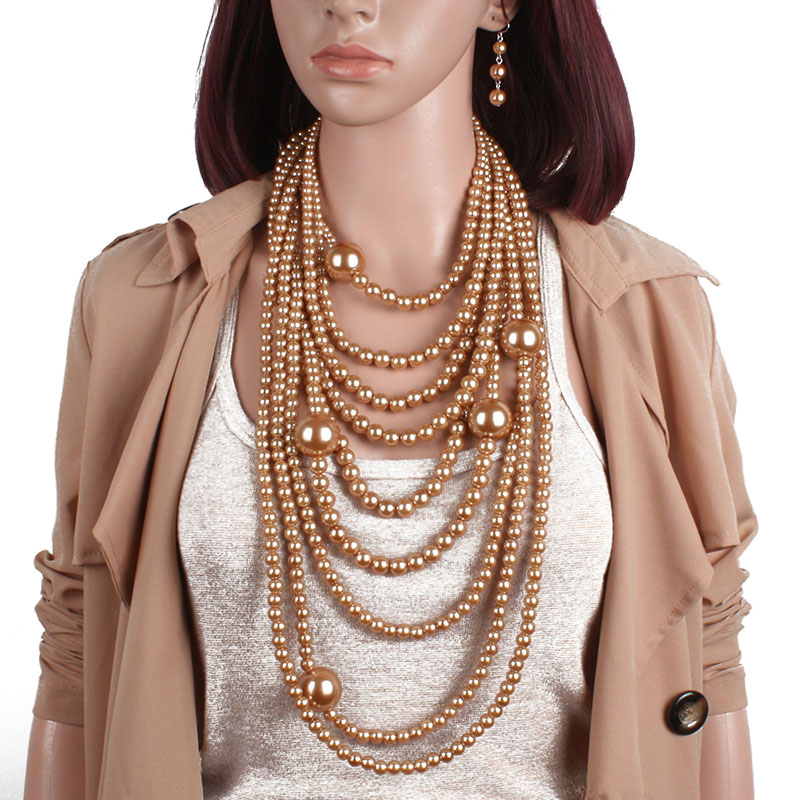 Fashion Layered Simulated Pearl Necklace Earrings Jewelry Sets Women Indian Wedding Statement Faux Pearl Big Choker Necklace