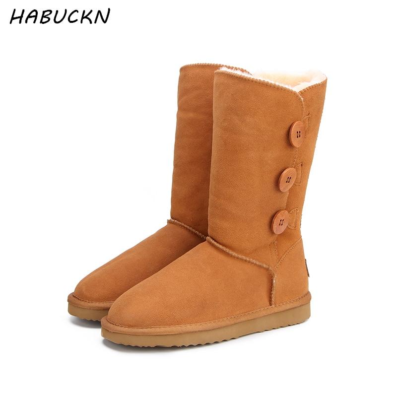 HABUCKN Classique Femmes Neige Bottes En Cuir D'hiver Chaussures Boot bota feminina botas mujer zapatos Femmes Neige Bottes NOUS 3- 13