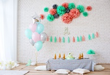 Laeacco Colorful Balloons Flowers Flags Cake Baby Photography Backgrounds Customized Photographic Backdrops For Photo Studio