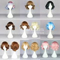 Free Shipping Full Lace Human Synthetic Wigs Short Curly Hair With Neat Bang Queen Evaginate Cosplay Daily Wig Cute Girlish Wigs