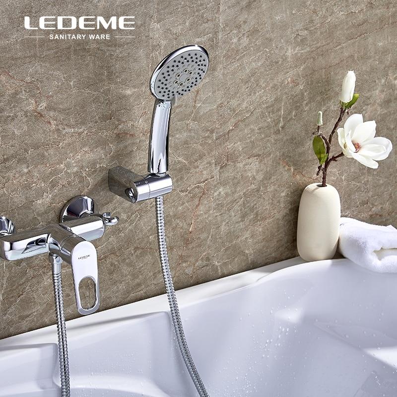 LEDEME Bathtub Shower Faucet Kit with 5-Spray ABS Plastic Shower Head Shower Mixer for Bathroom,Chrome Polished L2049