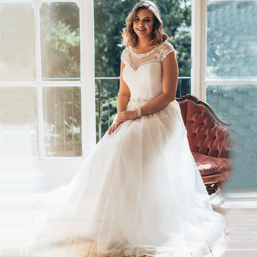 Elegant Scoop Cap Sleeves Plus Size Wedding Gown With Pearls Vestido De Noiva A-line Lace Bridal Gowns Abito Da Sposa