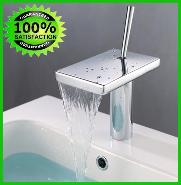 Free Shipping Brand New  Torneira Single Hole Deck Mounted Hot-Cold Basin Mixer Chrome Waterfall Faucet Sedal  Cartridge Faucet