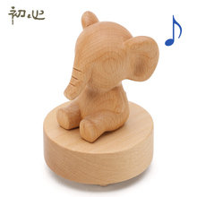 Wool child wind up wood Elephant carousel music box for new year wedding Christmas and birthday gift small gift free shipping
