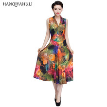 2017 Summer Style Women Floral Print Dress V-neck Sleeveless Wrap Fit And Flare Sundress Long Beach Vestidos Dresses