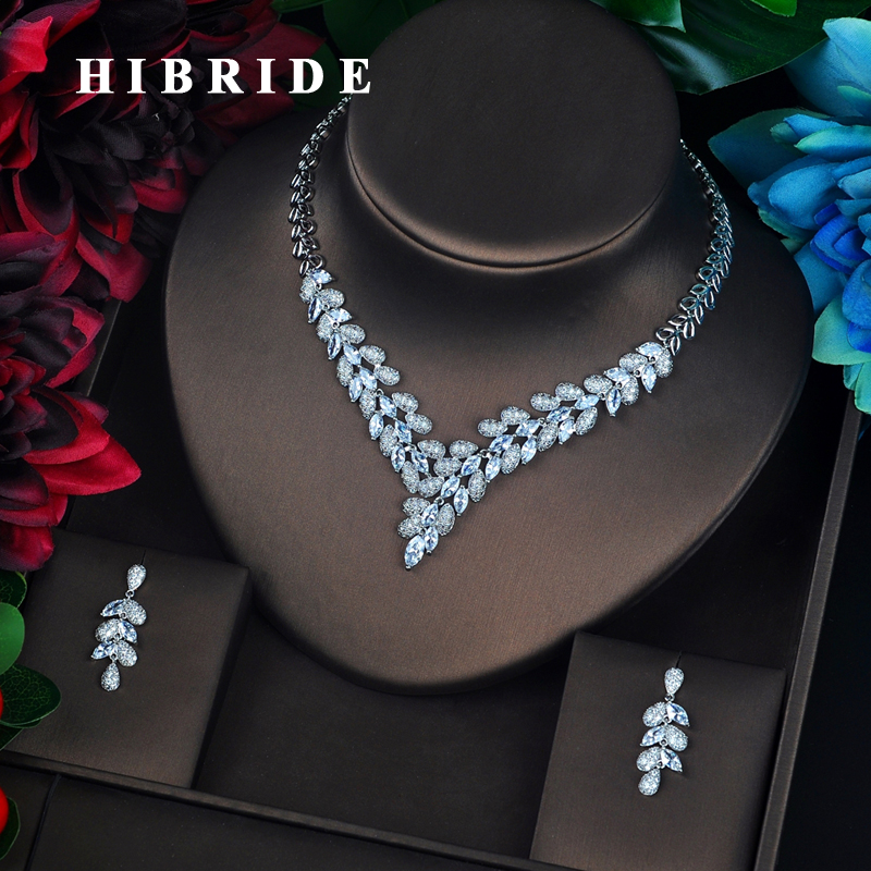 HIBRIDE Luxury Colorful AAA Cubic Zircon Plant Design Bridal Jewelry Set Fashion Pendant Earring Accessories Brincos N-680