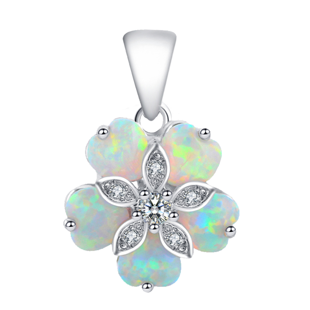 Cost price jewellery Beautiful Flower Shaped White Fire Opal Silver Stamped Retail Necklaces Pendants Fashion jewelry OP462