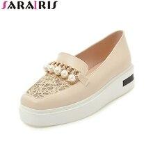 SARAIRIS 2018 nyári új márka gyöngyház női sík platform cipő nagy méret 34-43 friss iskolai cipő női sekély cipő