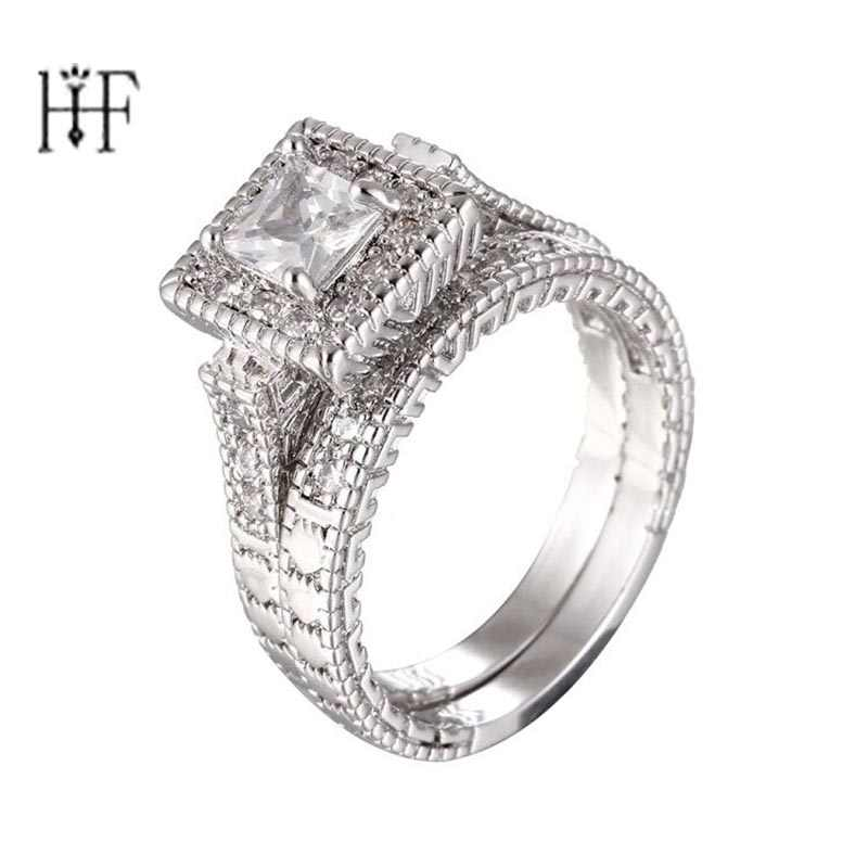 Luxury Female Big Unique CZ Ring White Gold Filled Jewelry Vintage Wedding Ring Set Promise Engagement Rings For Women Anillos