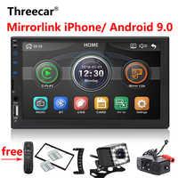 Nouveau rétroviseur intégré iPhone Android 9.0 2din Autoradio 9 pouces Bluetooth USB caméra de recul lecteur MP5 un Autoradio Din
